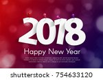 happy new year 2018 greeting... | Shutterstock .eps vector #754633120