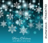 merry christmas party... | Shutterstock .eps vector #754634743