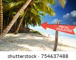 fiscal paradise with red arrow... | Shutterstock . vector #754637488