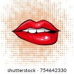 pop art colorful design biting... | Shutterstock .eps vector #754642330