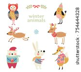 set of cute woodland animals in ... | Shutterstock .eps vector #754644328