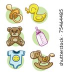 baby icons | Shutterstock .eps vector #75464485