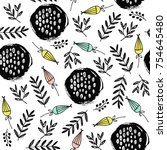 seamless pattern with hand...   Shutterstock .eps vector #754645480