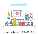 healthcare mobile app. mobile... | Shutterstock .eps vector #754645750