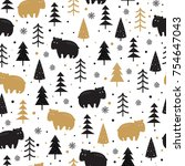 seamless pattern with bears and ... | Shutterstock .eps vector #754647043