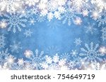 blue winter background with... | Shutterstock . vector #754649719