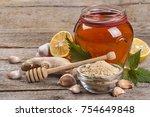 ginger  honey and lemon  the... | Shutterstock . vector #754649848