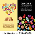 candies and caramel sweets... | Shutterstock .eps vector #754649878