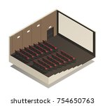 empty cinema auditorium... | Shutterstock .eps vector #754650763