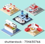 fast food self service... | Shutterstock .eps vector #754650766