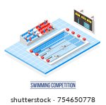swimming competition isometric...   Shutterstock .eps vector #754650778