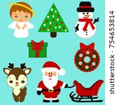 christmas icons. collection.... | Shutterstock .eps vector #754653814