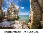 the beach and iconic cliffs at... | Shutterstock . vector #754655026