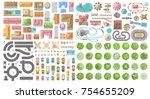 set of landscape elements. city.... | Shutterstock .eps vector #754655209