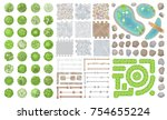 set of park elements.  top view ... | Shutterstock .eps vector #754655224