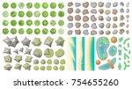 set of landscape elements.  top ... | Shutterstock .eps vector #754655260