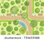 seamless pattern. park top view.... | Shutterstock .eps vector #754655488