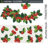 mistletoe holly branches ... | Shutterstock .eps vector #754655788