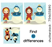 find the differences... | Shutterstock .eps vector #754655890
