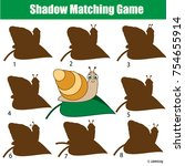 shadow matching game for... | Shutterstock .eps vector #754655914
