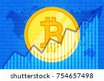 bitcoin trade cryptocurrency.... | Shutterstock .eps vector #754657498