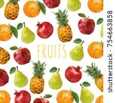low poly style.fresh fruits on...   Shutterstock .eps vector #754663858