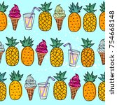 seamless summer pattern with... | Shutterstock .eps vector #754668148