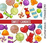 candies and sweets poster of... | Shutterstock .eps vector #754668190