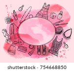 watercolor background with... | Shutterstock .eps vector #754668850