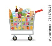 grocery in a shopping cart.... | Shutterstock .eps vector #754670119