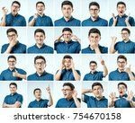 set of young man's portraits... | Shutterstock . vector #754670158