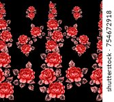 seamless pattern with roses.... | Shutterstock . vector #754672918
