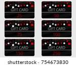 gift cards with hanging gift... | Shutterstock .eps vector #754673830