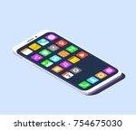 modern smartphone with... | Shutterstock .eps vector #754675030