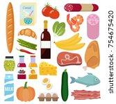 grocery set. milk  vegetables ... | Shutterstock .eps vector #754675420