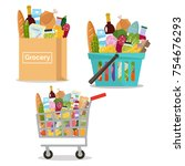 grocery in a paper bag  in a... | Shutterstock .eps vector #754676293