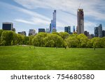 a beautiful day in central park ... | Shutterstock . vector #754680580