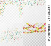 colorful party confetti set on... | Shutterstock .eps vector #754681864