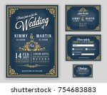 vintage luxurious wedding... | Shutterstock .eps vector #754683883