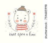 cute little bear boy in hat... | Shutterstock .eps vector #754685998