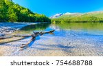 clear lake in norway   log on... | Shutterstock . vector #754688788