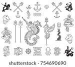 black on white vector marina... | Shutterstock .eps vector #754690690