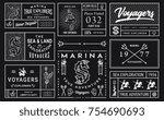 vector white on black sea... | Shutterstock .eps vector #754690693