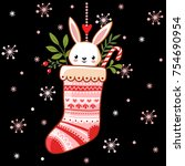 cute bunny in a christmas sock. ... | Shutterstock .eps vector #754690954