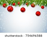 christmas decoration background.... | Shutterstock .eps vector #754696588