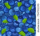 ripe juicy blueberry seamless... | Shutterstock .eps vector #754701193