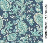 paisley and vintage flowers... | Shutterstock .eps vector #754701823