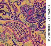 paisley vector seamless pattern.... | Shutterstock .eps vector #754702648