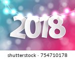 new year 2018 concept with... | Shutterstock .eps vector #754710178