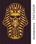 pharaoh gold shinny skull | Shutterstock .eps vector #754713229